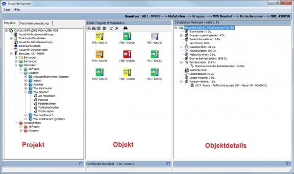 Nach Auswahl eines Projektes im linken Baum des Explorers, werden im mittleren Fenster die Objekte (z.B. Messstellen) angezeigt. Nach Auswahl eines Objekts im mittleren Fenster wird im rechten Fenster des Explorers ein Detaildatenbaum aufgebaut, in dem in übersichtlicher Form alle Stamm- und Detaildaten des Objekts aufgelistet werden
