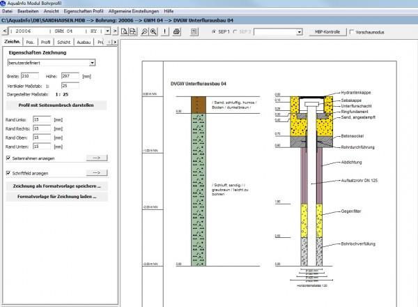 Im AquaInfo Modul Geologie können geologische Schichtdaten nach DIN4023 graphisch dargestellt werden. Ebenfalls ist die Darstellung der Ringraumverfüllung des Messstellenausbau möglich.