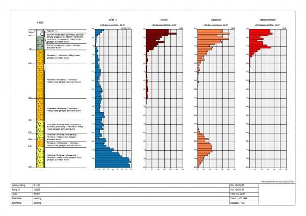 Mit dem AquaInfo-Modul Geologie können auch Bohrlochmessungen neben dem Bohr- und Ausbauprofil angezeigt werden. Die Anzahl der darzustellenden Bohrlochmessungen ist nahezu unbegrenzt.