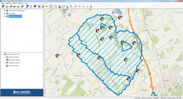 Im neuen Kartenmodul von AquaInfo können neben internen Layern für Bohrungen, Messstellen, Gütedaten und Wasserstandsdaten aus der AquaInfo-Datenbank auch externe Layer über WMS-Dienste geladen werden. Im Bild oben wurde - mit wenigen Mausklicks - zu einem Messstellen-Layer eine Hintergrundkarte (OpenStreepMap) und Wasserschutzgebietsgrenzen über einen kostenlosen WMS-Dienst geladen.